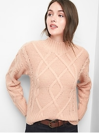 Cable knit mockneck sweater