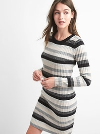 Crazy stripe wool blend dress