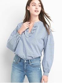 Chemise rayée à col en V froncé