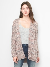 Cable-knit spacedye cocoon cardigan