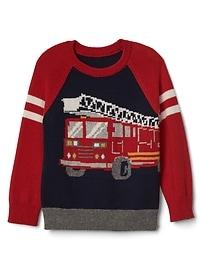 Intarsia fire truck raglan sweater