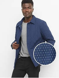Quilted dobby shirt jacket