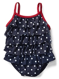 Dotty ruffle tier swim one-piece