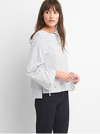 Stripe boatneck tie-sleeve top.
