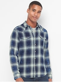 Plaid denim western slim fit shirt