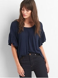 Softspun slub ruffle sleeve top