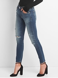 Washwell Mid Rise True Skinny Jeans with Destruction