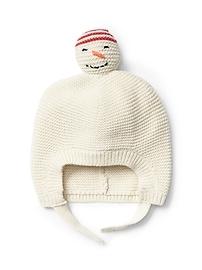 Tuque en point mousse à motif de bonhomme de neige