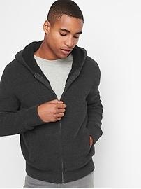 Sherpa-lined ribbed hoodie