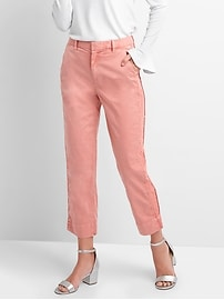 High rise side-panel girlfriend chinos