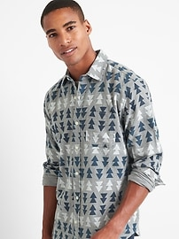 Print flannel standard fit shirt