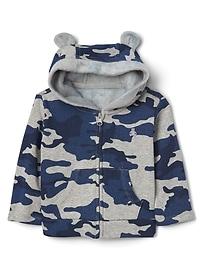 Cozy camo zip bear hoodie