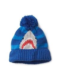 Shark pom-pom beanie