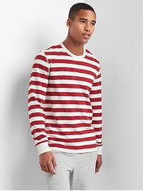 Long sleeve stripe crewneck tee