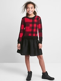 Buffalo plaid mix-fabric dress