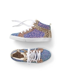 Glitter-block hi top sneakers