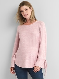 Maternity softspun knit tie-sleeve top