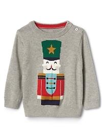 Intarsia nutcracker crewneck sweater