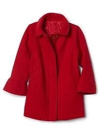 Wool bell-sleeve coat