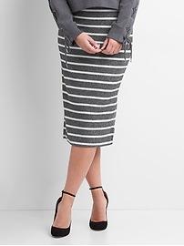 Softspun stripe midi skirt