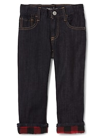 Flannel-Lined Straight Jeans in Stretch