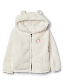 Cozy logo bear zip hoodie