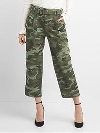 Pantalon militaire coupe droite trois quarts