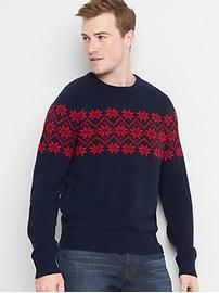 Merino wool blend snowflake crewneck sweater