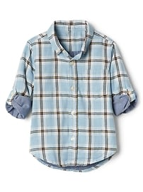 Plaid double-woven convertible shirt