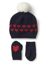 Heart pom-pom hat & mitten set