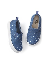 Dotty chambray slip-on sneakers