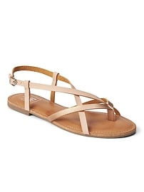 Strappy Sandals in Metallic Faux Leather
