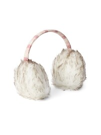 Crazy stripe faux-fur earmuffs