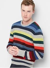 Merino wool blend crazy stripe crewneck sweater