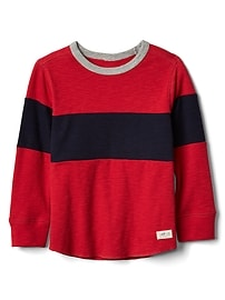 Chest-stripe waffle knit tee
