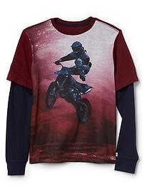 T-shirt à imprimé graphique 2en1
