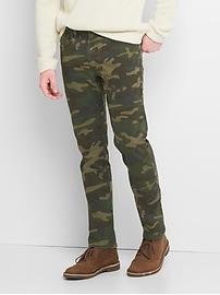 Pantalon à imprimé camouflage coupe étroite (extensible)