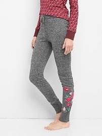 Embroidered marle sweater leggings