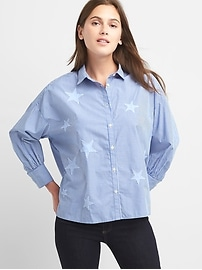 Stripe star patch shirt