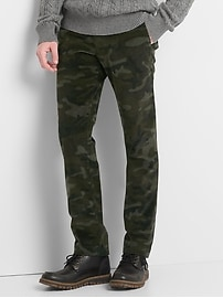 Camo slim fit cords with GapFlex