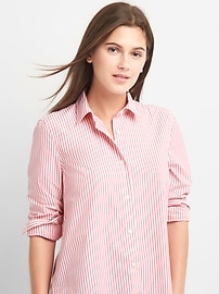 Poplin stripe wrap-button shirt