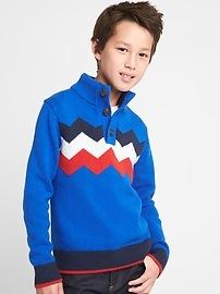 Marled colorblock button mockneck sweater