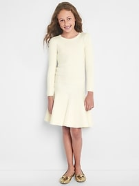 Drop-waist keyhole sweater dress
