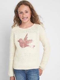 Sequin Graphic Crewneck Sweater