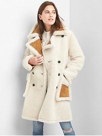 Manteau en suède et en laine
