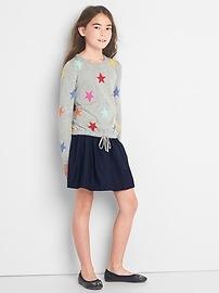 Starry mix-fabric sweater