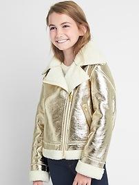 Cozy faux-leather biker jacket