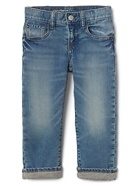 Lined Straight Jeans with Stretch