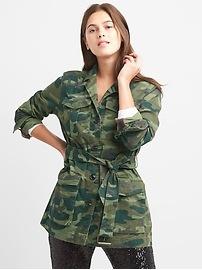 Veste militaire à ceinture à imprimé camouflage
