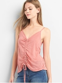 Linen shirred cami